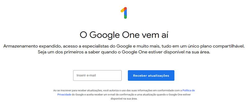 cadastro google one